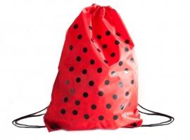 Spaanse jurk rugzak / cadeau tas, rood met zwarte stippen