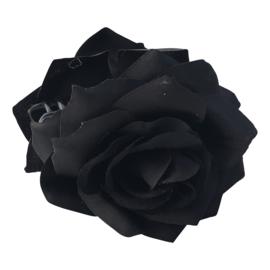 Spaanse haar roos dubbel, zwart met clip