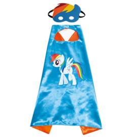 Eenhoorn cape blauw regenboog + masker en GRATIS ketting