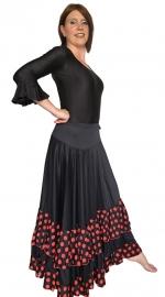 Flamenco rok dames Luxe met stippen en 2 volantes