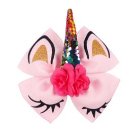 Eenhoorn haarclip roze met roosjes