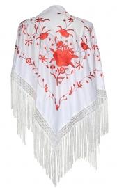 Spaanse manton/omslagdoek wit met rode bloemen