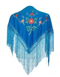 Spaanse manton blauw diverse kleuren bloemen SMALL