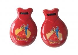Spaanse castagnetten rood met opdruk
