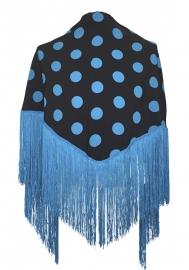 Spaanse manton met stippen blauw/zwart