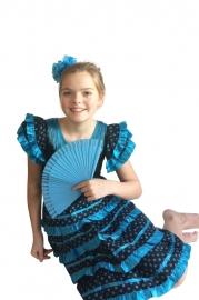 Spaanse jurk zwart blauw