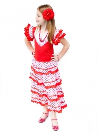 Robe Flamenco rouge blanc