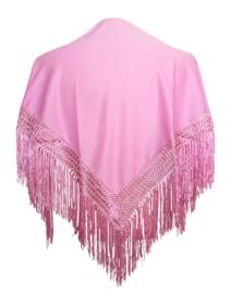 Spaanse manton/omslagdoek licht roze SMALL