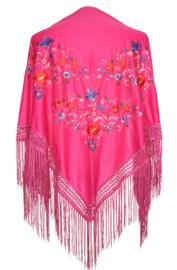 Foulard Chales Flamenco rose avec fleurs colorées