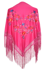 Spaanse manton/omslagdoek fel roze met bloemen