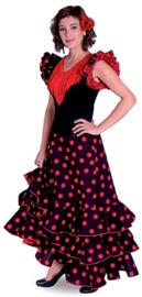 Spaanse flamenco jurk dames Deluxe zwart/rood