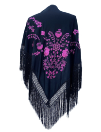 Spaanse manton/omslagdoek zwart roze zwarte franjes