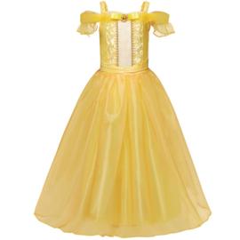 Prinsessenjurk geel Luxe met broche + GRATIS handschoenen