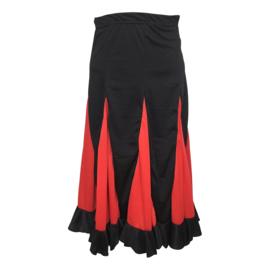 Spaanse flamenco rok meisjes zwart met rode stroken