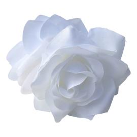 Spaanse haar roos dubbel, wit met clip