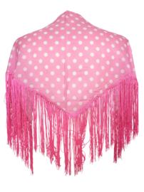 Spaanse manton/omslagdoek licht roze witte stippen SMALL