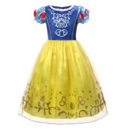 Sneeuwwitje jurk blauw geel + broche  en GRATIS haarband