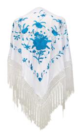 Spaanse manton/omslagdoek wit/blauw