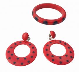 Spaanse armband en oorbellen set, rood/zwart clip