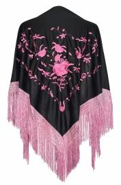 Spaanse manton omslagdoek zwart licht roze rozen