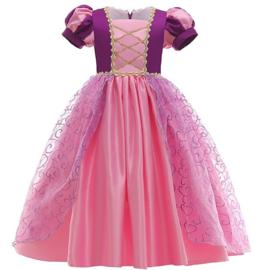 Prinsessenkleedje donker paars roze Deluxe + GRATIS kroon paars
