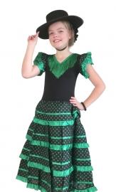 Spaanse jurk zwart groen