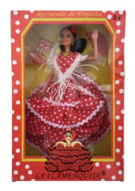 Spaanse barbie pop Flamenco rood wit