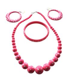 Spaanse ketting, oorbellen & armband set roze wit