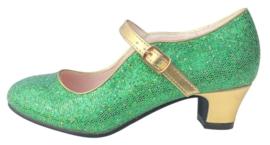 Spaanse schoenen groen goud Glamour