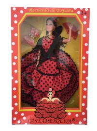 Spaanse barbie pop Flamenco rood zwart