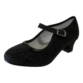 Spaanse schoenen zwart glitter NIEUW