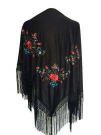 Spaanse manton/omslagdoek zwart diverse bloemen