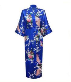 Chinese Kimono blauw met opdruk dames