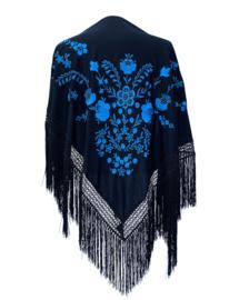 Spaanse manton/omslagdoek zwart met blauwe bloemen