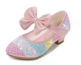 Prinsessen schoenen regenboog roze glitter
