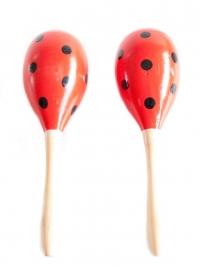 Sambaballen (hout) rood met zwarte stippen