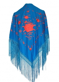 Flamenco Shawl blue red flowers