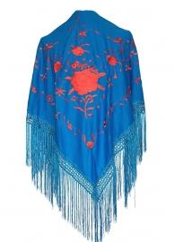 Spaanse manton/omslagdoek blauw/rood