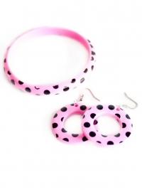 Spaanse armband en oorbellen, roze/zwart