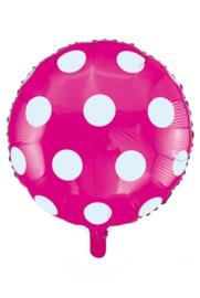 Folie ballon 18 inch 45 cm roze witte stippen