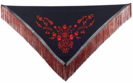 Spaanse manton zwart rood franjes rood zwart M