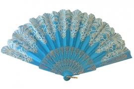 Spaanse flamenco waaier blauw glitter