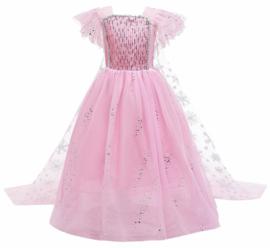 Elsa kleedje licht roze Classic Deluxe + GRATIS kroon