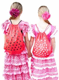 Flamenco hair flower pink black dots