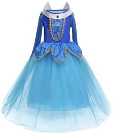Prinsessenjurk blauw Deluxe + GRATIS handschoenen