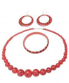 Spaanse ketting, oorbellen & armband set rood zwart