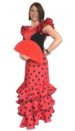 Spaanse flamenco jurk dames Deluxe rood/zwart