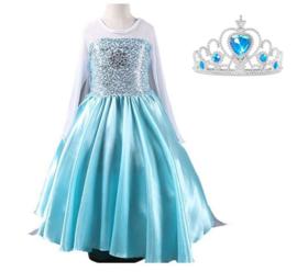 Elsa jurk blauw met ster + GRATIS kroon
