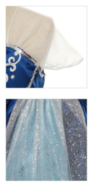 Prinsessenjurk donker blauw + broche en GRATIS kroon