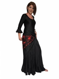 Spanish Flamenco shawl black red Large